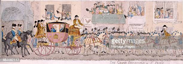 The grand procession to St Paul's on St George's day 1789 shows King George III and Queen Charlotte in a coach on their way to a thanksgiving service...