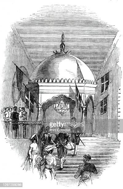 The Grand Staircase, 1844. The grand staircase of the Town Hall in Calcutta [Kolkata], decorated with flags, in honour of Edward Law, 1st Earl of...