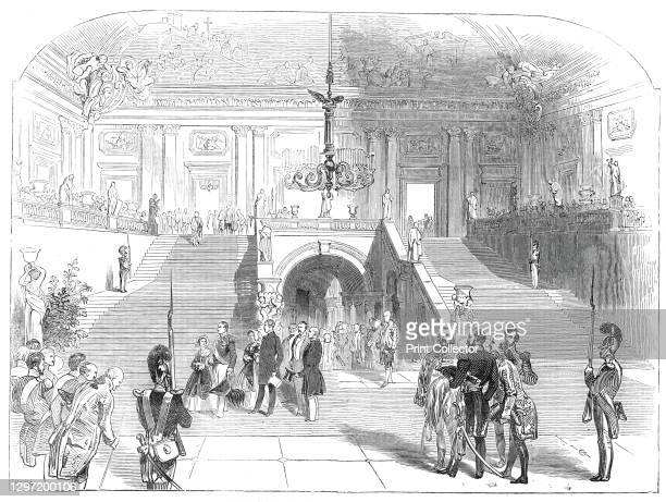 The Grand Staircase, in the Palace at Wurzburg, 1845. Queen Victoria at the Wurzburg Residence in Germany. 'Her Majesty has ascended the first flight...