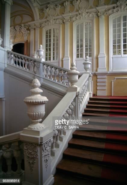 The grand staircase of Rundale palace 17361768 designed by Francesco Bartolomeo Rastrelli for Ernst Johann von Biron Duke of Courland Pilsrundale...