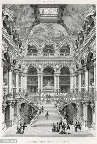 The grand staircase of the Opera Garnier in Paris illustration France 19th century