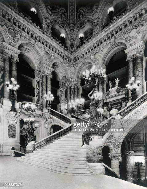 The grand staircase of the Opera Garnier in Paris in a late 19th century photo France