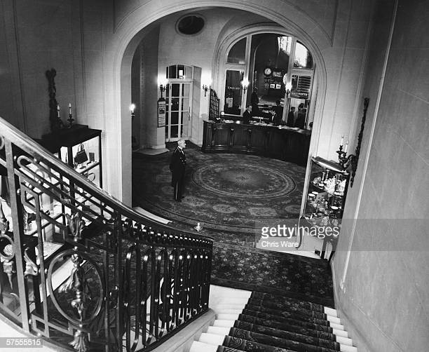 The Grand Staircase of the Ritz Hotel in London looking down toward the reception desk 29th May 1963