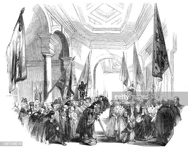 The Grand Vestibule - departure of Her Majesty, 1844. Opening of the new Royal Exchange building in the City of London. The building was designed by...