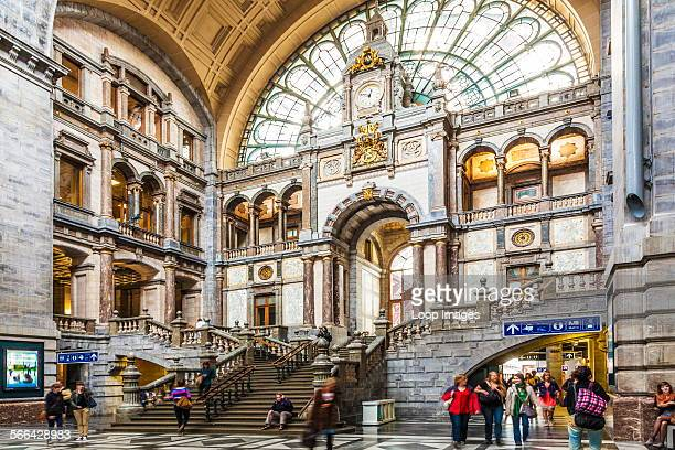 The grand waiting and entrance hall of the Antwerpen Centraal railway station designed by Louis Delacenserie