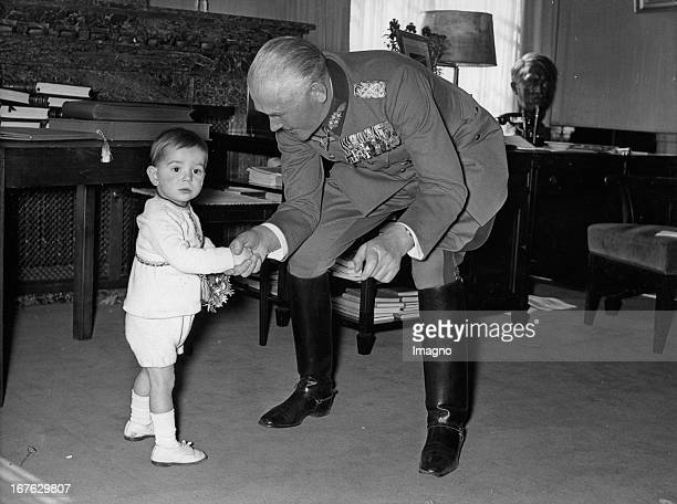 The grandchild of War Minister Werner von Blomberg congratulates on the occasion of the fortieth anniversary of service Germany Photograph Das...
