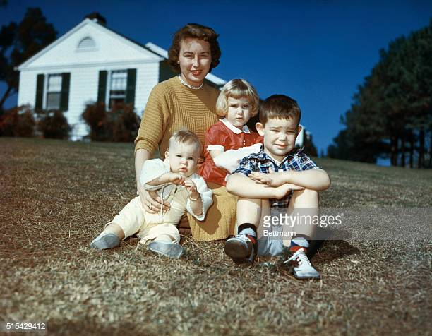 The grandchildren of the President Elect Dwight D Eisenhower is shown They are Barbara Anne and Susan with their mother Mrs John Eisenhower