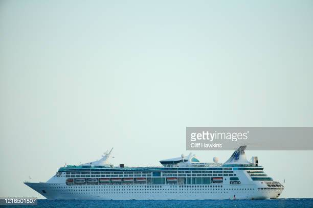 """The Grandeur of the Seas cruise ship is seen on April 02, 2020 in Miami Beach, Florida. Florida Gov. Ron DeSantis signed a """"Stay-at-Home"""" order..."""
