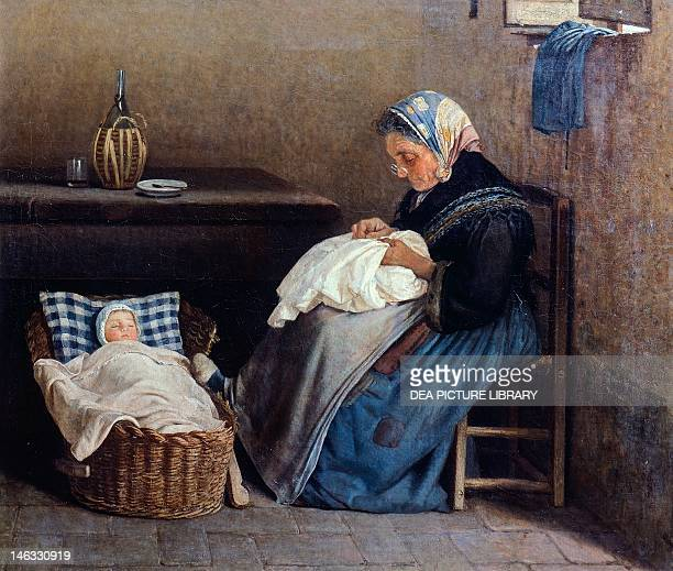 The grandmother by Silvestro Lega oil on canvas 59x70 cm