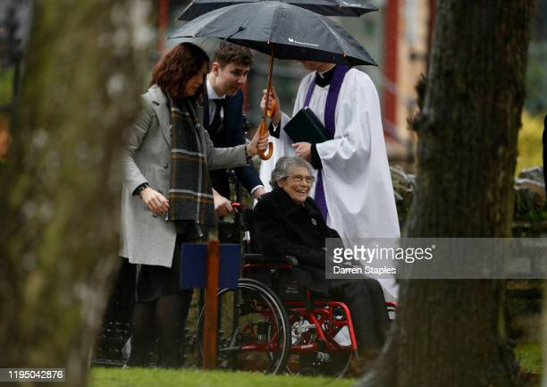 The grandmother of Saskia Jones arrives for a memorial service to celebrate her life at Holy Trinity Church on December 20 2019 in StratforduponAvon...