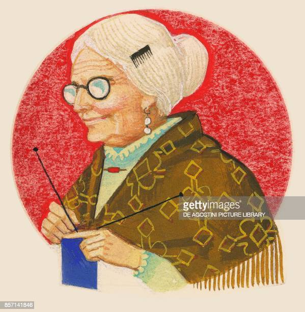 The grandmother old woman knitting drawing