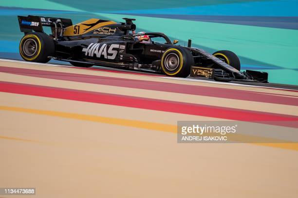 The grandson of twotime world champion Emerson Fittipaldi Pietro Fittipaldi steers a Haas F1 team Formula One car during private tests at the Sakhir...