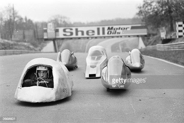 The Grandville Wizards skatecar club at practice at Brands Hatch race track, ahead of the first ever national skateboarding championships. Skatecars...