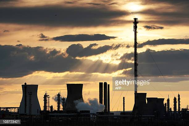 The Grangemouth oil refinery west of Edinburgh Scotland is pictured at the end of the first of a two day strike on April 27 2008 near Grangemouth The...