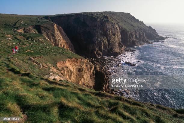 The granite cliffs at Land's End Cornwall United Kingdom