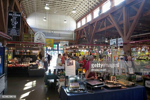 The Granville Island Public Market is located under the south end of the Granville Street Bridge In Vancouver It features a farmers' market day...