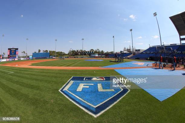 The Grapefruit League logo on the third base line before a spring training game between the Houston Astros and New York Mets at First Data Field on...