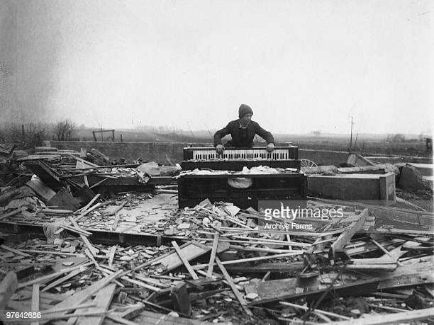 The graphic scene of the way the tragic tornado of Wednesday March 18th struck Princeton Indiana 1925 All this man had left when the black wind had...