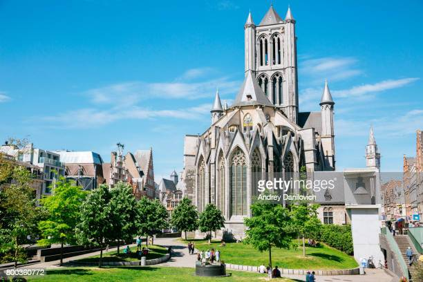 the graslei and st nicholas church in ghent - st nicholas' church stock pictures, royalty-free photos & images