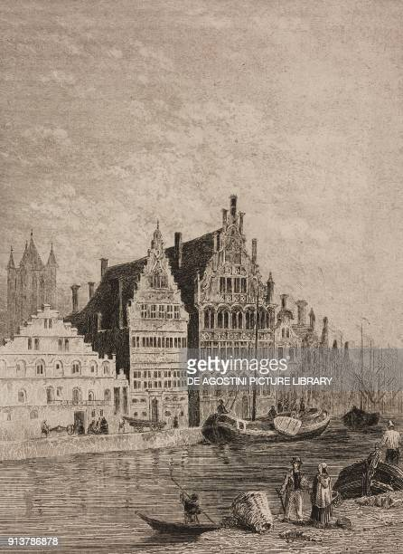 The Graslei on the Leie river Ghent Belgium engraving by Lemaitre from Belgique et Hollande by Van Hasselt L'Univers pittoresque published by Firmin...