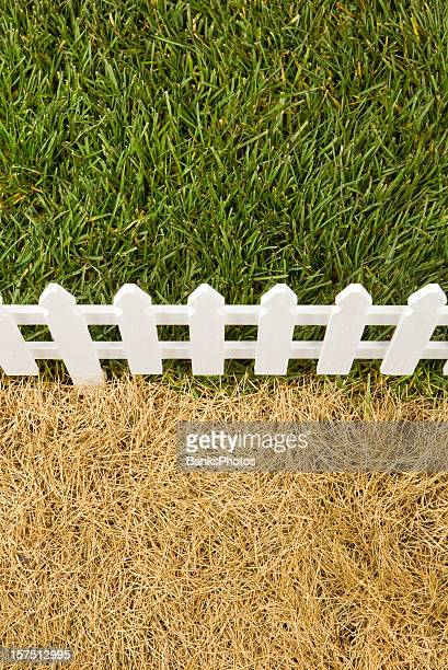 the grass is greener on other side of fence - turf stock pictures, royalty-free photos & images