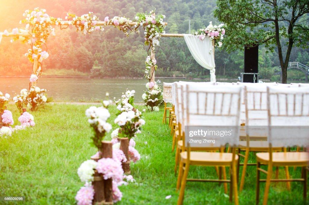 the grassland wedding : Stock Photo