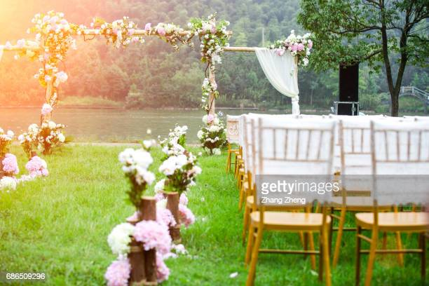 the grassland wedding - wedding ceremony stock photos and pictures