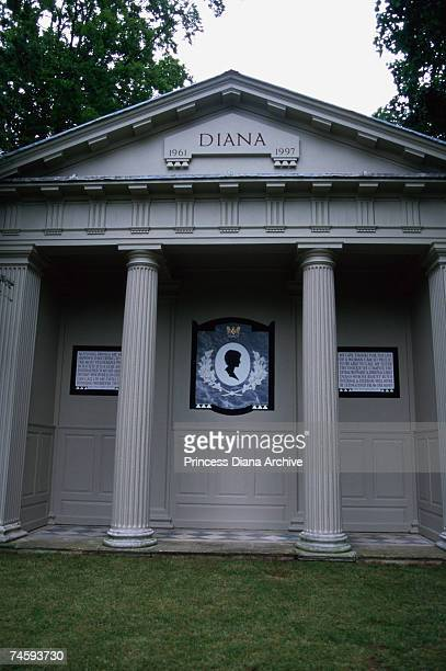 The grave and memorial to Princess Diana on an island in a lake at her family home at Althorp Park Northamptonshire July 1999