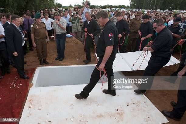 The grave is covered during the funeral of Afrikaner Resistance Movement slain leader Eugene Terre'Blanche on April 9 2010 in Ventersdorp South...