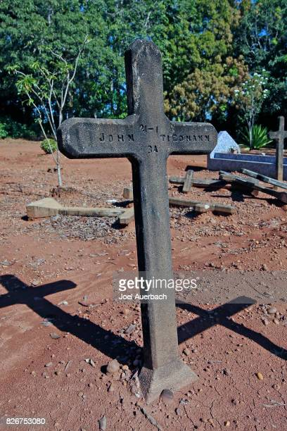 The grave of American John Tiedmann who died in 1934 in the Fordlandia cemetery on July 6 2017 in Aveiro Brazil American industrialist Henry Ford...
