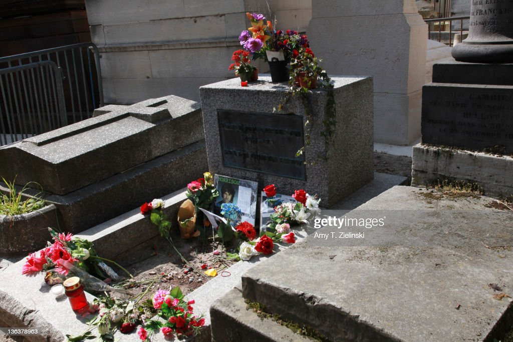 The grave of American singer Jim Morrison (1943 - 1971) in Pere Lachaise Cemetery, Paris, 20th April 2010.
