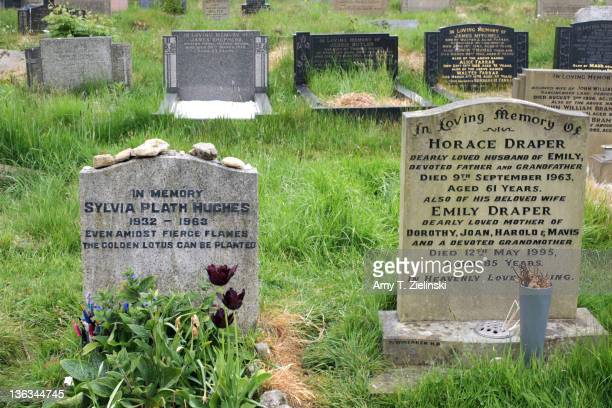 The grave of American writer and poet Sylvia Plath at St Thomas a Beckett churchyard Heptonstall West Yorkshire 5th May 2011