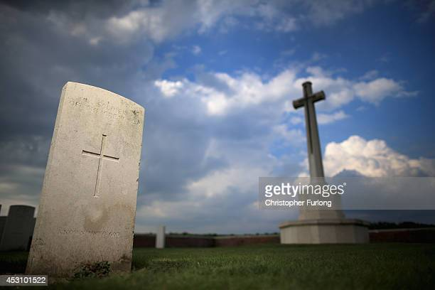 The grave of an unknown soldier lays near the Cross of Sacrifice at The Welsh Military Cemetery on August 2 2014 in Ypres Belgium Monday 4th August...