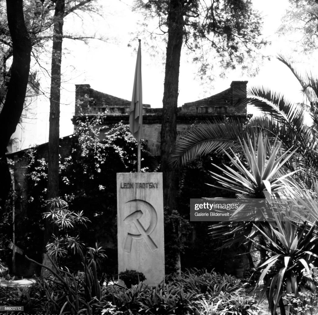 The grave of assassinated Russian revolutionary Leon Trotsky in the garden of his house in Coyoacan, Mexico City, 1989.