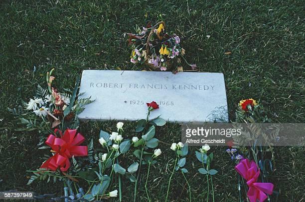 The grave of assassinated US Senator Robert F Kennedy in Arlington National Cemetery Virginia 1987