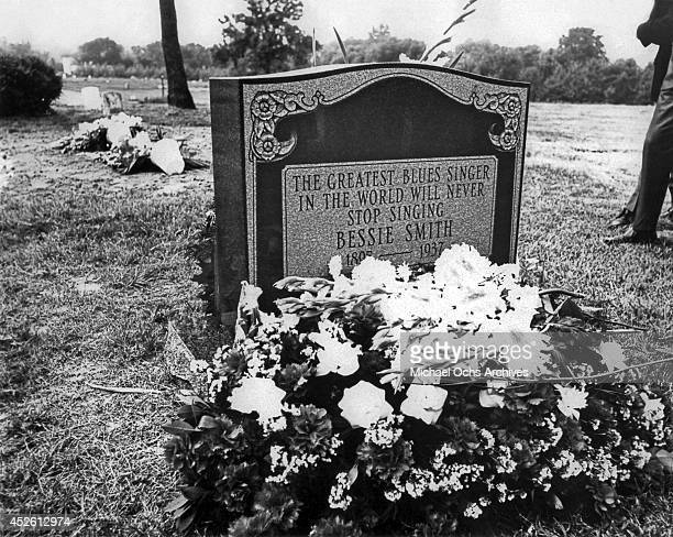 The grave of blues singer Bessie Smith at Mount Lawn Cemetery in Sharon Hill Pennsylvania circa 1975
