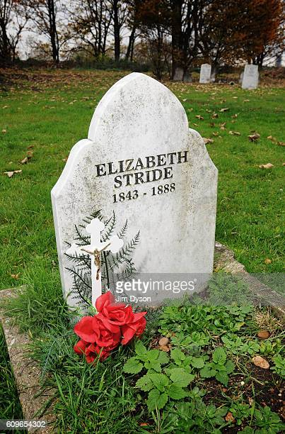 The grave of Elizabeth Stride a victim of the serial killer Jack the Ripper in 1888 at East London Cemetery in Plaistow on November 16 2008 in London...