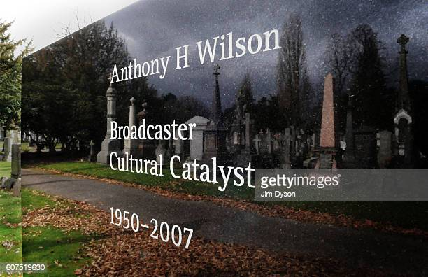 The grave of Factory Records founder Tony Wilson in Southern Cemetery designed by Peter Saville on March 17 2011 in Manchester England Dead Famous...