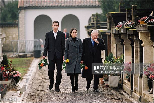 The grave of Francois Mitterrand anniversary of his death in Jarnac France on January 08 2000 Ali Mazarine Michel Charasse