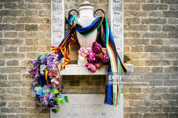 The grave of Helenio Herrera is seen at the cemetery of San Michele Island on October 31 2019 in Venice Italy In 1950 during the week of the...