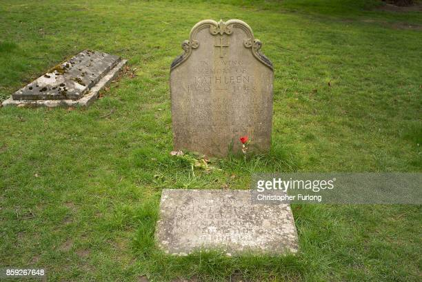 The grave of Kathleen Agnes Cavendish Marchioness of Hartington sits in the churchyard of St Peter's Church Edensor on April 4 2017 in Chatsworth...