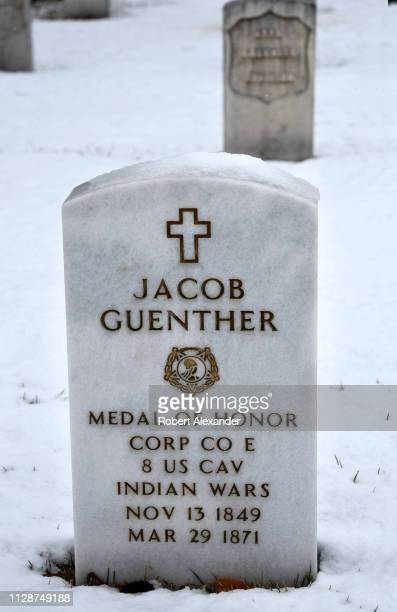 The grave of Medal of Honor recepient Jacob Guenther is among US military veterans buried in the Santa Fe National Cemetery in Santa Fe New Mexico...