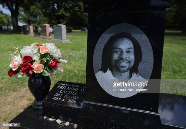 The grave of Philando Castile at Calvary Cemetery in St Louis on the oneyear anniversary of his death on Thursday July 6 2017 Minnesota police...