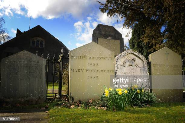 The grave of poet William Wordsworth in St Oswald's Churchyard March 23 2011 in Grasmere England