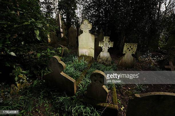 The grave of PreRaphaelite muse and wife of Dante Gabriel Rossetti Elizabeth Siddal at Highgate Cemetery on April 17 2013 in London Dead Famous...
