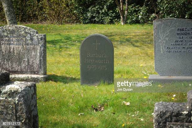 The grave of sculptor Barbara Hepworth at Longstone Cemetery in Carbis Bay near St Ives April 12 2010 in Cornwall England
