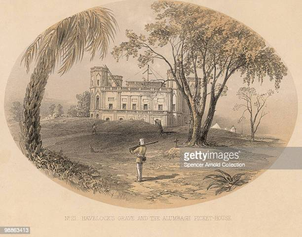 The grave of Sir Henry Havelock outside the Alambagh Fort near Lucknow, during the Indian Rebellion, 1857. 'Havelock's Grave and the Alumbagh...