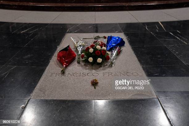The grave of Spain's General Francisco Franco is pictured on July 03 2018 in San Lorenzo del Escorial near Madrid at the Valle de los Caidos a...