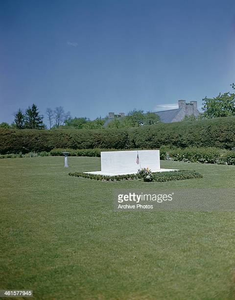 The grave of US President Franklin D Roosevelt in Hyde Park New York State USA circa 1960