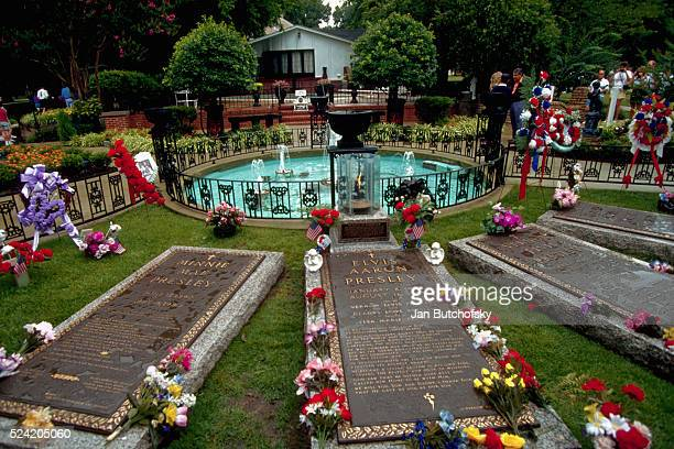 The grave site of Elvis Presley at Graceland Memphis Tennessee